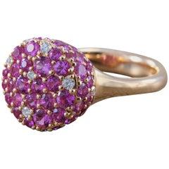 Pink Sapphire Diamond Gold Ring