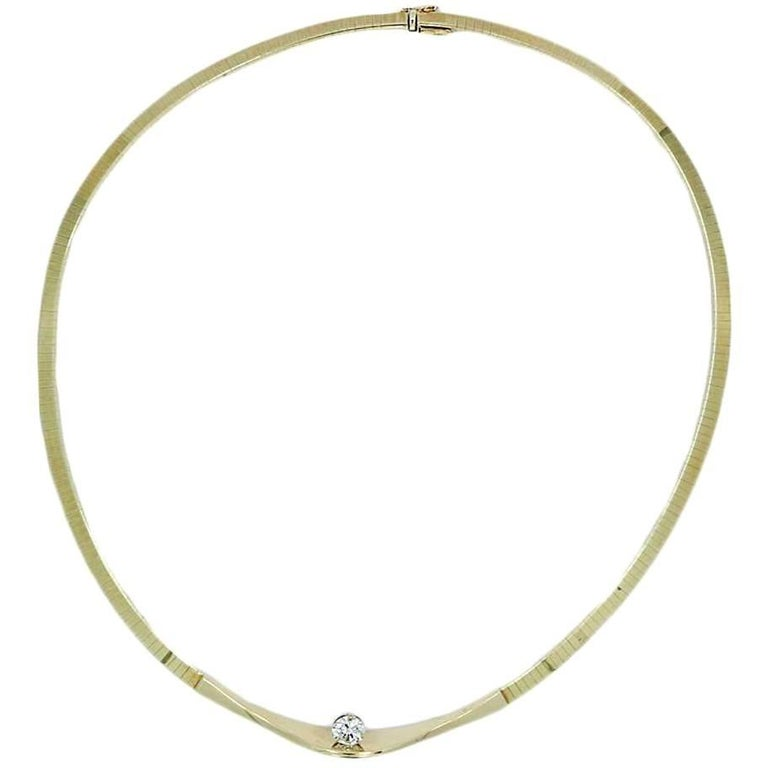 1.05 Carat Round Diamond Omega Yellow Gold Necklace