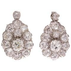 Cluster Diamond Platinum Earrings