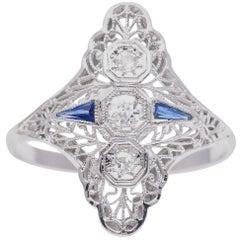 Fantastic Filigree Art Deco Diamond and Sapphire Cocktail Ring