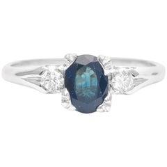 Midcentury Sapphire and Diamond Three-Stone Ring in Platinum