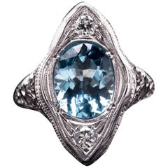 Art Deco Aquamarine and Diamond Filigree Ring in 18 Karat White Gold