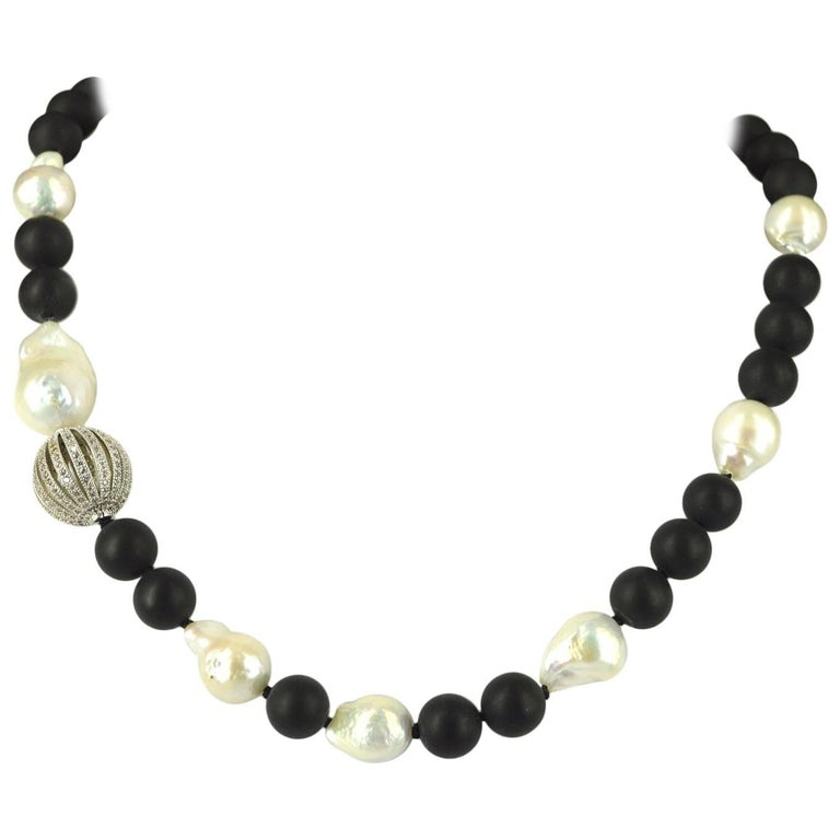 Decadent Jewels Matt Onyx Fresh Water Pearl CZ Silver Necklace For Sale
