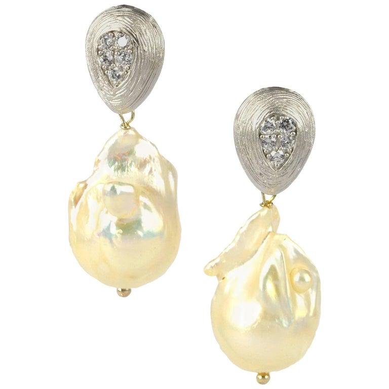 Decadent Jewels Baroque Fresh Water Pearl Silver CZ Earrings