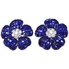 Heart Petal Sapphire Invisible Earrings