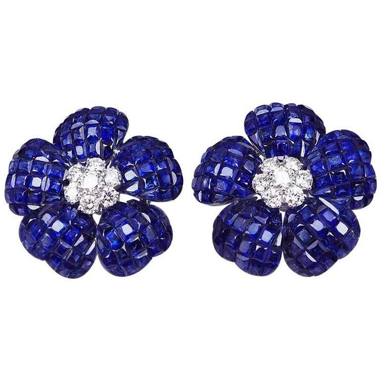 Heart Petal Sapphire Invisible Earrings 1