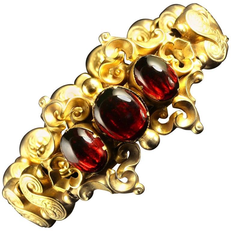 Antique Victorian Garnet Gold Bracelet circa 1880 Gold Gilt