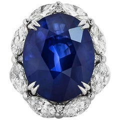 Sri Lankan Oval Sapphire and Marquise Cut Diamonds GRS Certified Ring