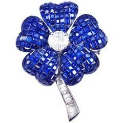 Blue Sapphire Flower Brooch