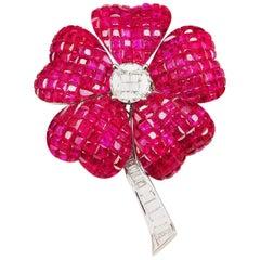 Ruby Flower Brooch