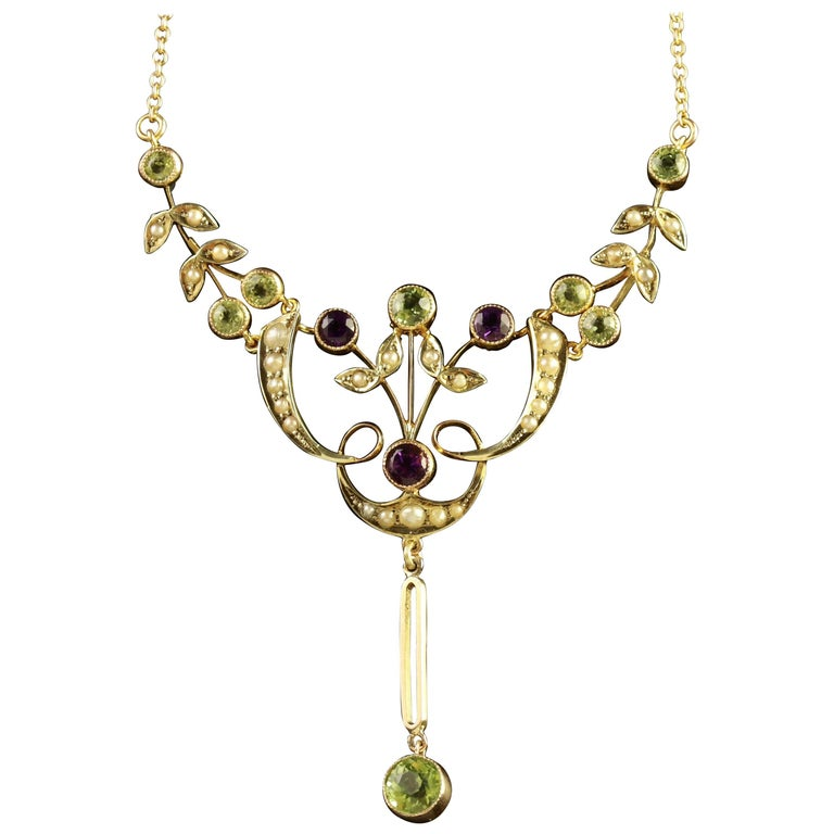 Antique Victorian Gold Suffragette Necklace, circa 1900 For Sale