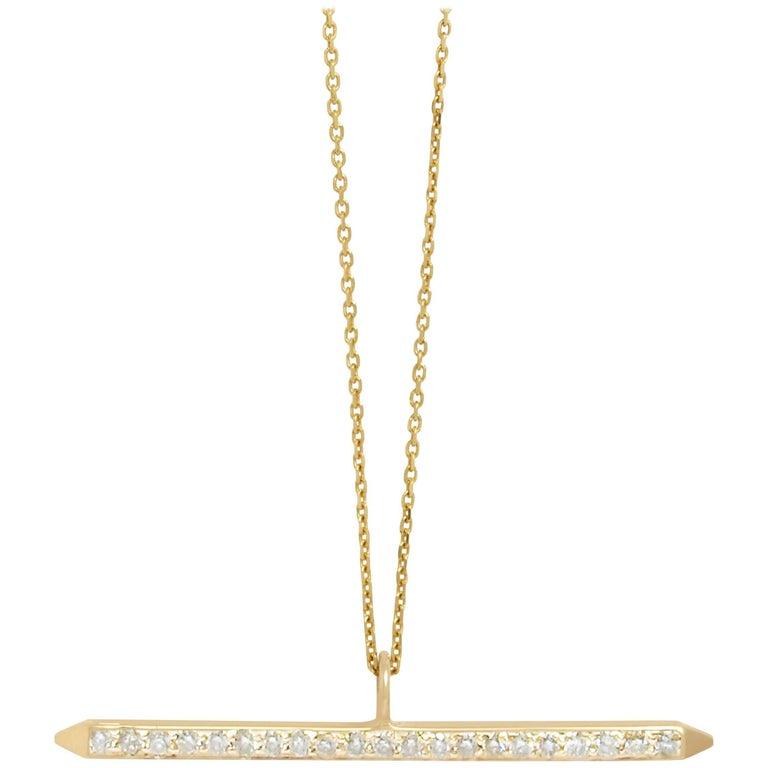 Diamond Pave Bar Necklace by Allison Bryan