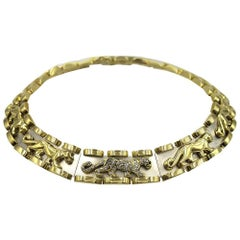 Diamond Panther Two-Tone Gold Link Choker Necklace