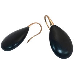 Ebony Wood and Rose Gold 18 Carat Drop Earrings