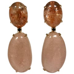 Moonstone Sunstone and Spinel Yellow Gold 18 Carat Earrings