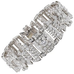 French Art Deco 12.0 Carat Diamond Platinum Bracelet