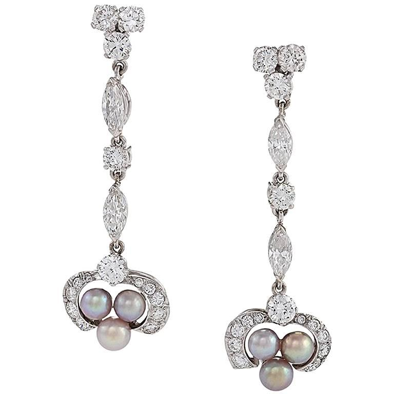 Art Deco Diamond, Natural Pearl and Platinum Earrings For Sale