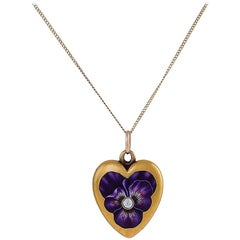 Early 20th Century Gold and Enamel Heart or Pansy Locket