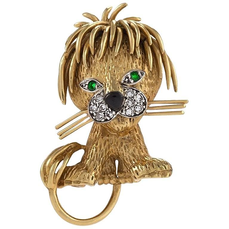 """Van Cleef & Arpels Gold and Enamel """"Lion"""" Brooch with Diamonds and Emeralds"""