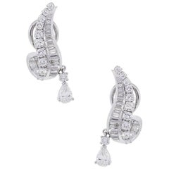 6.50 Carat Total Weight Dangle Diamond Earrings