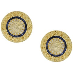 Diamond and Sapphire Disc Earrings