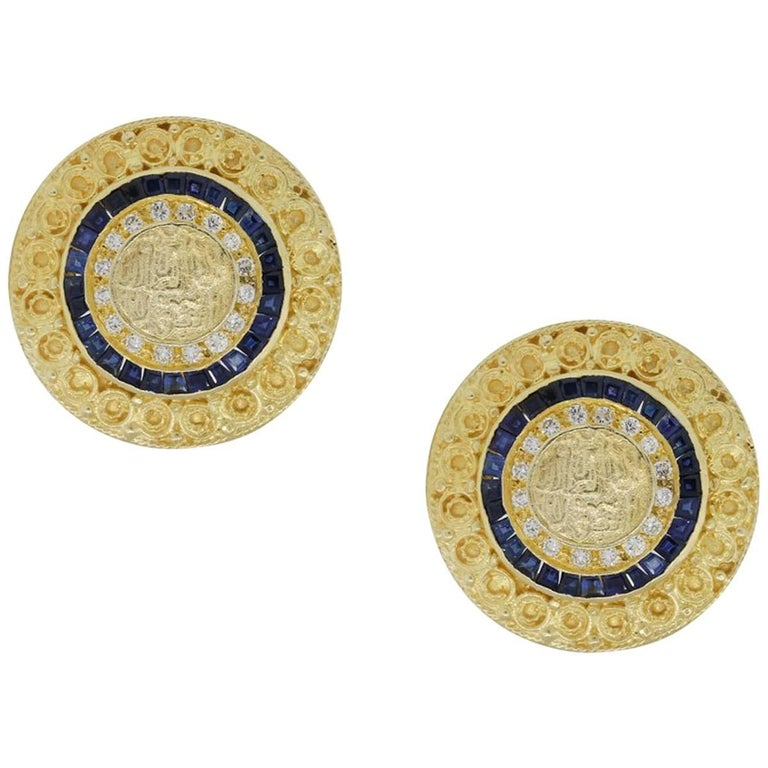 Diamond and Sapphire Disc Earrings For Sale