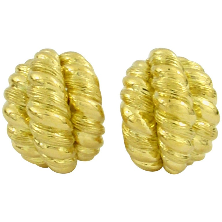 Yellow Gold Twisted Rope Earrings