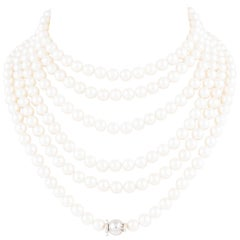 Ella Gafter Japanese Akoya Pearl Necklace Long Rope Strand