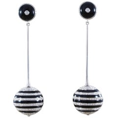 Diamond Black Onyx Gold Drop Ball Earrings