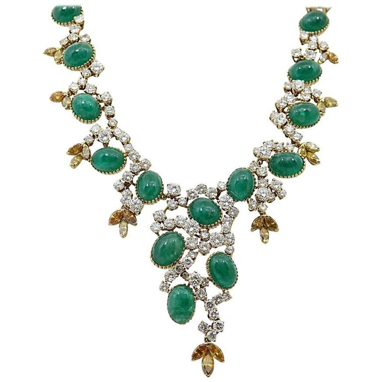Cartier Paris Emerald and Diamond Statement Yellow Gold Necklace