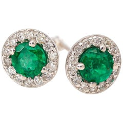 Bright Green Emerald Earring with Diamond Halo