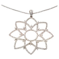 Large Star Flower Lotus Pendant with Diamonds in While Gold