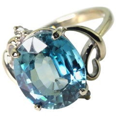 7.8 Carat Blue Zircon and Diamond 14Kt Gold Party Ring