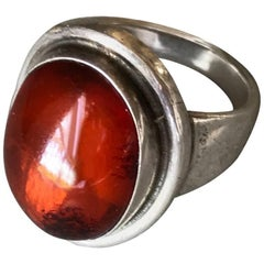 Georg Jensen Sterling Silver Amber Ring by Harald Nielsen, No. 46A