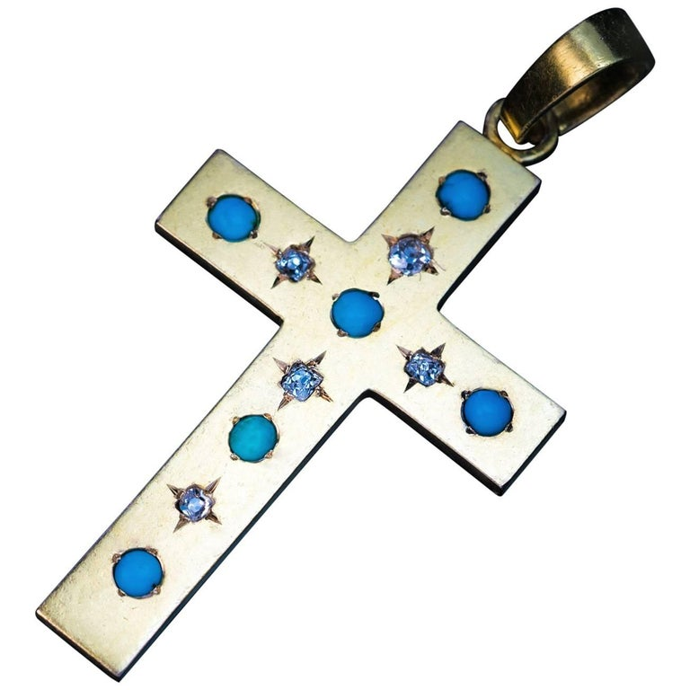 Antique Russian Turquoise Diamond Gold Cross Pendant, 1872 For Sale