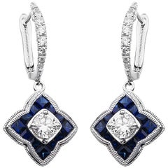 Carlos Udozzo 18 Karat White Gold Blue Sapphire and Diamond Earrings