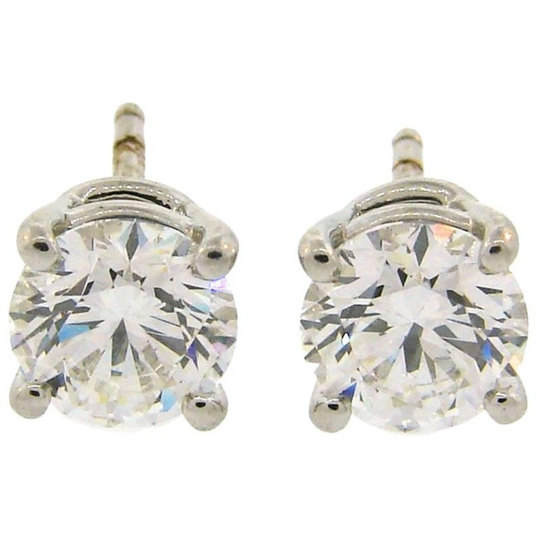 Tiffany & Co. 2.18 Carat F VVS Diamond Platinum Stud Earrings