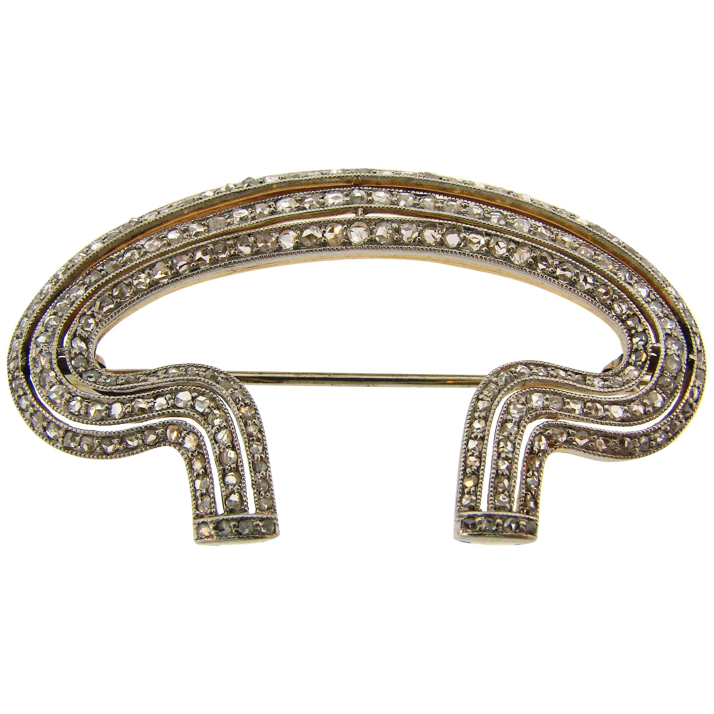 Edwardian Diamond Platinum Gold Brooch Pin Clip