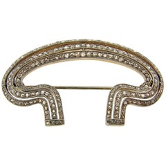 Edwardian Diamond Platinum Gold Brooch Pin Clip