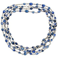 Sapphire Diamond by the Yard White Gold Chain Necklace