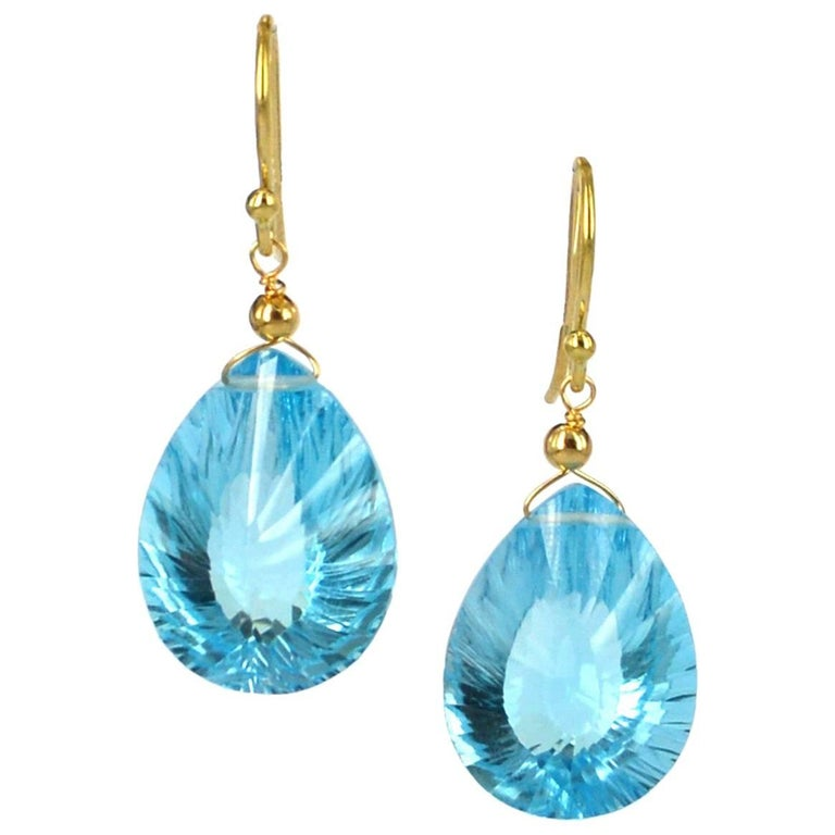 Decadent Jewels Blue Topaz Gold Earrings