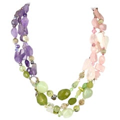 Decadent Jewels Rose Quartz Amethyst Jade Pearl Prehnite torsade Silver Necklace