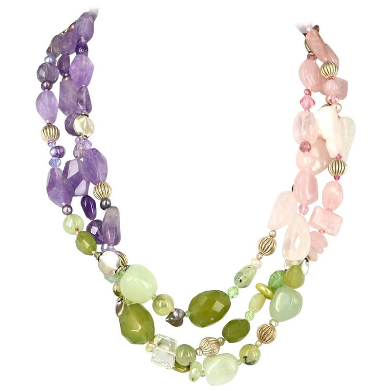 Decadent Jewels Rose Quartz Amethyst Jade Pearl Prehnite torsade Silver Necklace For Sale
