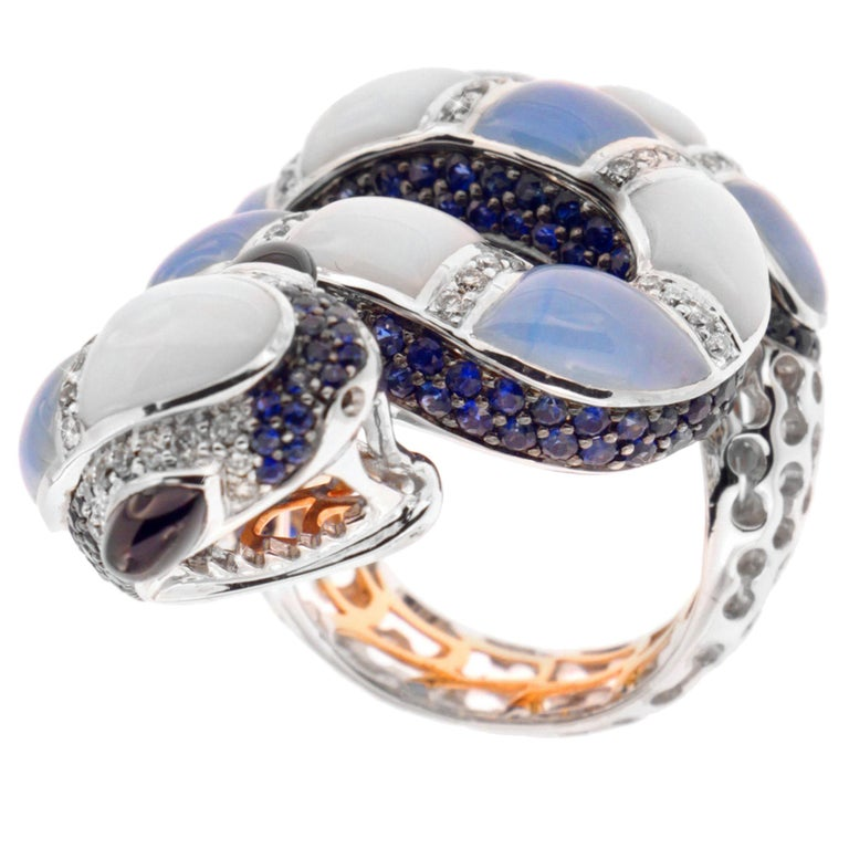 Zorab Creation, Chalcedony, Jade, Sapphire and Diamond Pastel Python Ring For Sale