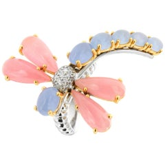 Zorab Creation, the Jade and Diamond Pastel Dragonfly Motion Ring