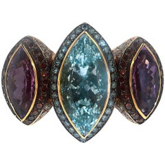 Zorab Creation, the Jezebel Marquis Amethyst and Blue Topaz Ring