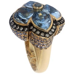 Zorab Creation Blue Topaz and Blue Sapphire Diamond Cocktail Ring