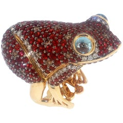 Zorab Creation Red Sapphire Brown and White Diamond Frog Ring