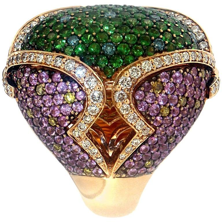 Zorab Creation Garnet Pink Sapphire Diamond Cocktail Ring For Sale