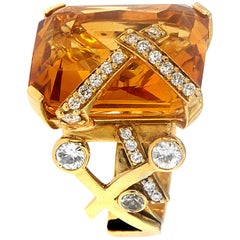 Zorab Creation, the 26.30 Carat Citrine Candy Ring with Diamonds and Sapphires